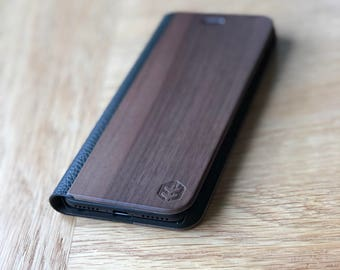 OXSY Black Leather & Wood iPhone Case | Wood iPhone 7 Folio Case / iPhone 7 Wallet Case | iPhone 7 Walnut Wood Case