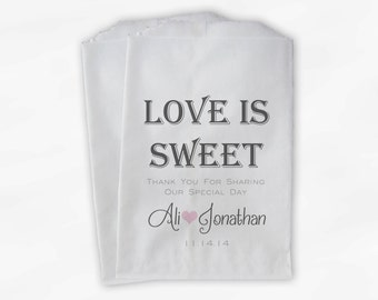 Love Is Sweet Wedding Candy Buffet Treat Bags - Personalized Favor Bags in Charcoal Gray and Pink - Custom Paper Bags (B0069)