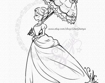 English Lady DIGITAL STAMP Instant Download