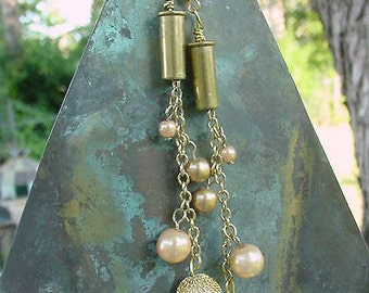 Upcycled Brass Bullet Casings with Chain and Faux Pearl Dangles 13g46