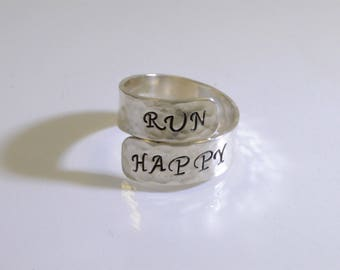 Run Happy Ring -- Hand Stamped