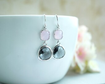 Bridal Earrings Grey Wedding Pink and Grey Earrings Blush Pink Earrings Bridesmaids Gift Short Dangle Earrings Bridal Jewelry Modern Earring