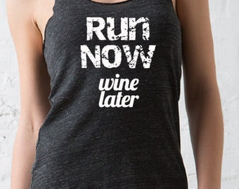 Half marathon and Marathon running shirts for women.        Run Now Wine Later Eco Running Tank