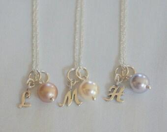 Bridesmaid Necklace - Personalized Bridesmaid Jewelry - Personalized Bridesmaid Gift Pearl Initial Necklace  Bridal Jewelry Wedding Jewelry