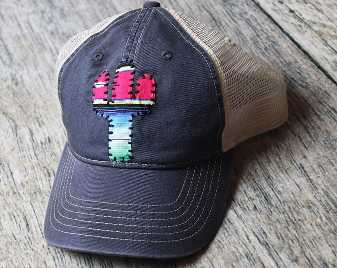 hand stitched serape cactus hat