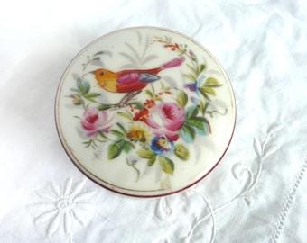 Victorian china box - hand painted porcelain box - hand painted bird and flower trinket box - Victorian porcelain trinket box