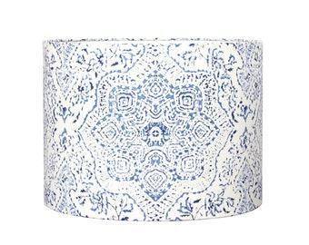 Blue and White Moroccan Lamp Shade - Drum Lampshade - Hand Printed Fabric - Custom Lamp Shades - Modern Chic Bohemian!