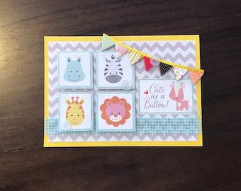 Cute as a button, baby card