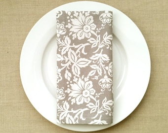 White and Grey Flower Motif Fabric Napkins - Fabric Dinner Napkins - Set of 2