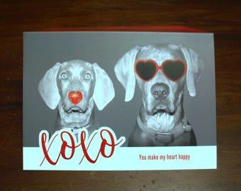 Weimaraner Valentine Card