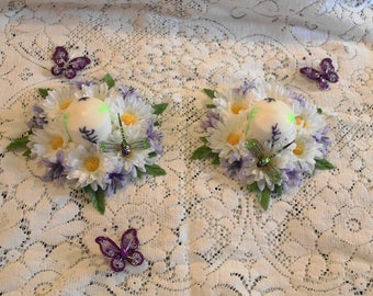"Springtime Home Decor..Spring flower Centerpieces..Daisies and orchid Table Toppers.. 5 1/2"" x 1"""