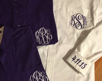 Purple Affordable Bridesmaid Button Down Shirt with Monogram