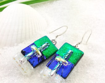 Fused glass earrings, dichroic glass earrings,green earrings,dichroic glass jewelry, dichroic glass, statement earrings, Hana Sakura Designs