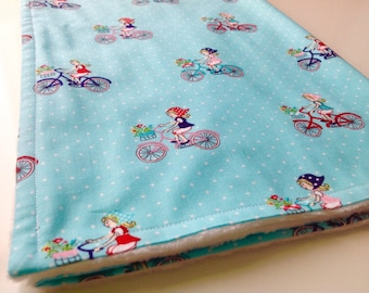 Baby blanket - Minky baby blanket - Blue bikes baby blanket - Bicycle baby girl blanket - Aqua baby blanket - New baby girl gift