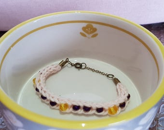 Knitted bracelets with beads in different colors - handmade
