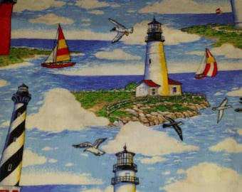"""Fabric Lighthouses 5 Yards 33"""" Sold as whole piece."""