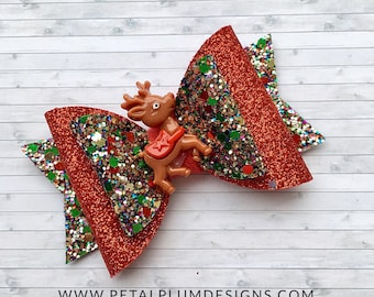 Red reindeer hair bow