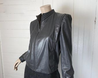 New Wave Leather Jacket in Gray- 1980s 80s Vintage Short Futuristic Cyber Sci Fi Sheplers- Western Space Cowgirl High Neck Puffy Sleeves