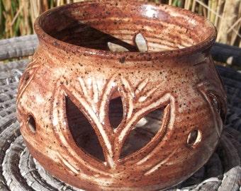 Candle Luminary in Earthtones - Handmade Pottery