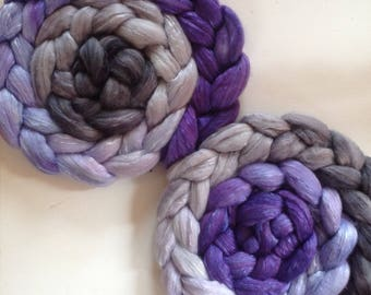 Hand Dyed gradient roving 6ozs polwarth mulberry silk 70/30 made to order