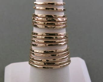 14K Gold Filled Hammer Textured Stacking Ring