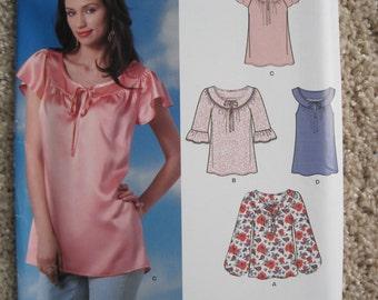 UNCUT Misses Blouse, Shirt, Top - Size 10, 12, 14, 16, 18, 20, 22 - Simplicity New Look Pattern 6052