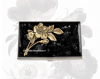 Art Nouveau Business Card Case Inlaid in Hand Painted Black Enamel with Silver Splash  with Personalized and Color Options