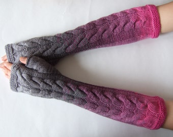 Multicolor ( gray, lilac ) FINGERLESS GLOVES, wrist warmers, fingerless mittens. Handmade, knitted of PURE wool.