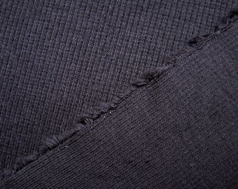 Black Bamboo Spandex Ribbed Jersey Fabric By The Yard