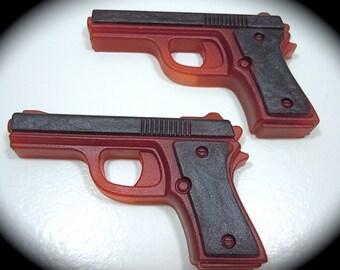 2 Pistol Soaps LAVENDER ESSNTL OIL Scent - Ruby Red/Black - Vegan guest bath decorative gun rifle shoot bullet woman