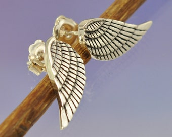 Angel Wing silver Earrings. Handmade Studs