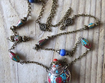 Nepal amulet necklace inlaid with semi precious stones