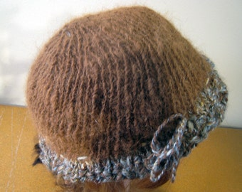 Handspun Alpaca Hat Brown Hand Knit Cap Warm Beanie Women's Hat Medium Size Fits Adjustable Tie Rain Resistant