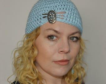 Crochet Flapper Hat in Sky Blue - choose your own brooch - winter crochet hats for women - winter hats for girls