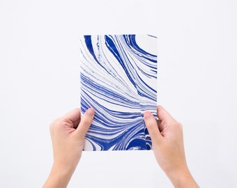 Blue Hand-Marbled Notebook