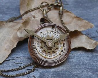 Steampunk necklace watch mechanism pendant, watch necklace, steampunk watch