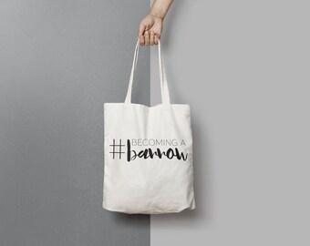 Custom Wedding Hashtag Canvas Tote Bag