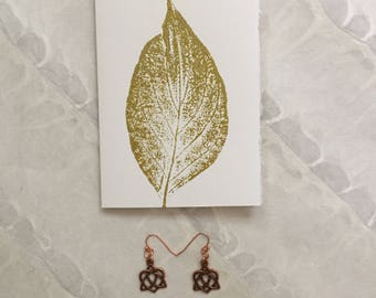 Gold Leaf Monoprint Gift and Greeting Card on Deckle Strathmore Paper with Enclosed Copper Celtic Knot Earrings