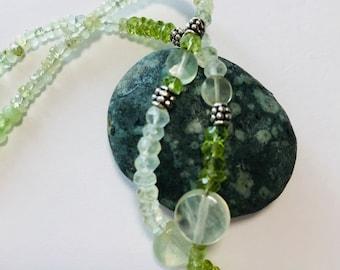 Prehnite, Peridot, and Jade necklace.