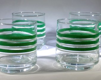 Vintage Green and White stripe bucket glasses
