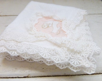 Women's handkerchief, ladies handkerchief, pocket handkerchief, vintage linens, monogrammed, retro handkerchief, women's accessory