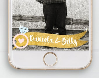 Snapchat Geofilter, Engagement Party, Wedding, Gold, Glitter, Sparkle, Confetti, Special Occasion, Banner, Ring, Diamond