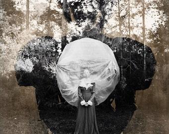 Ballooning FREE SHIPPING Surreal Photo Print Fine Art Nature Dark Portrait Creepy Sepia Black & White Double Exposure Vintage Wall Decor