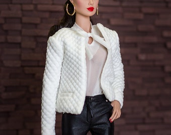 """ELENPRIV white Chanel style jacket with full satin lining for Fashion royalty FR ITBE 16"""" and similar body size dolls."""