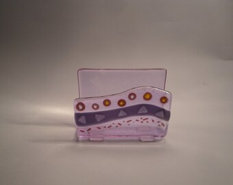 Purple Fused Glass Card Holder - 02930
