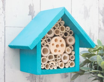 Mason Bee House and Insect Home, One Tier, in 'Beach Blue'. Can be personalised
