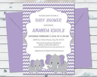 Purple Elephant Invite, Elephant Baby Shower Invite, Lavender Shower Invitation, Purple And Grey Baby Shower, Elephant Invitation
