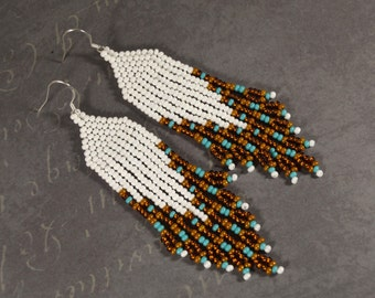 Long beaded earrings, Seed beads earrings, boho style, Native American style, White earrings, Beaded Earrings, White and brown, Gift for her