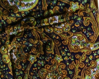 Green and mustard Paisley printed cotton canvas