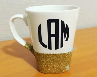 Monogram glitter coffee mug
